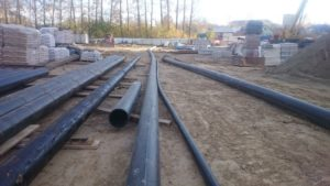 Монтаж водопровода ПЭ-100 d 110 мм., d 315 мм.