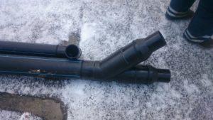 Монтаж водостока ПЭ-100, d 110 мм., d 160 мм.